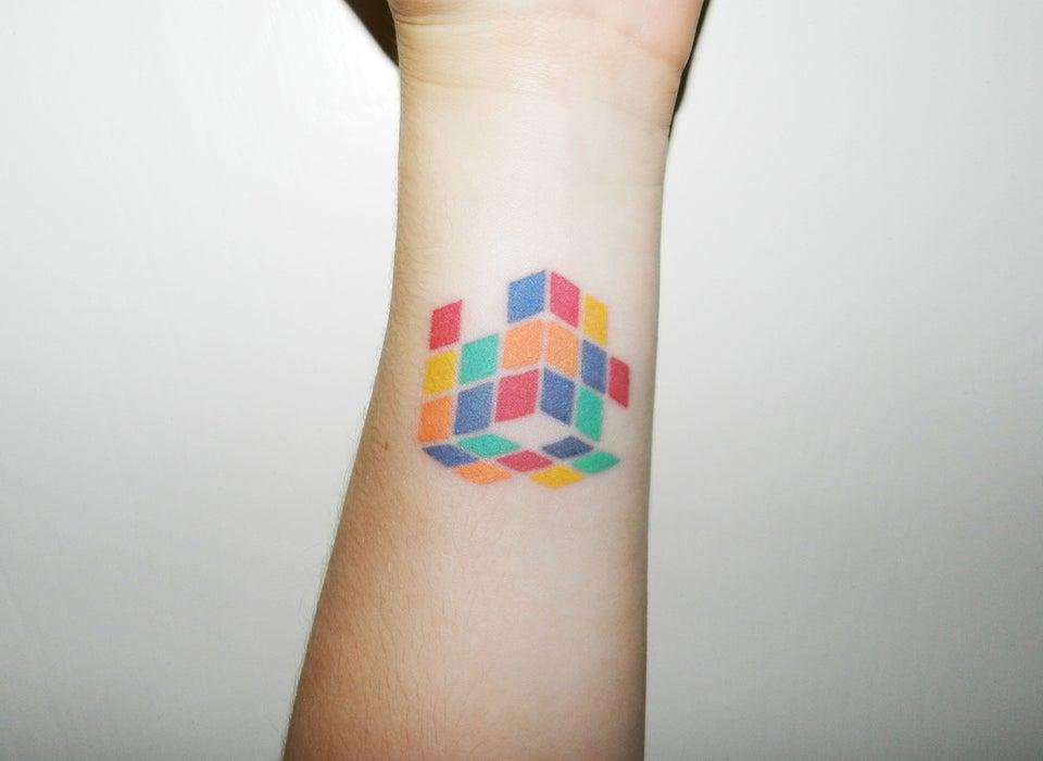 Minimalistic Rubik's cube tattoo