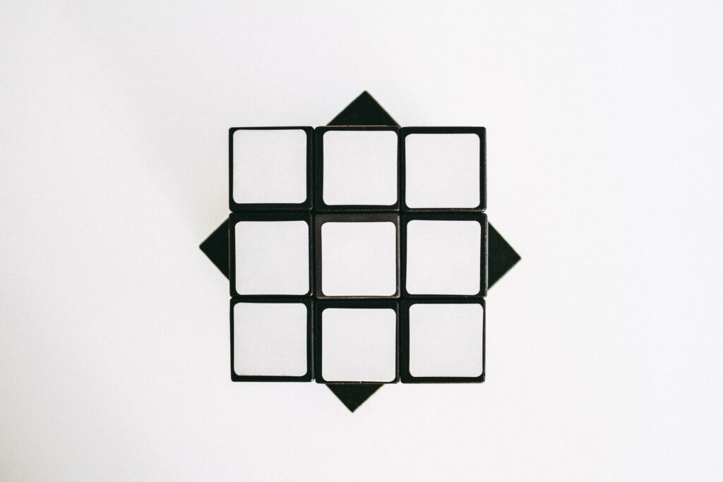 white rubiks cube with logic